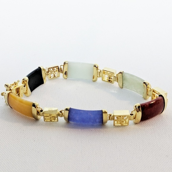 Jewelry - Gold Plated Jade Multi Colored Bracelet